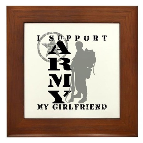 I Support Girlfriend 2 - ARMY Framed Tile