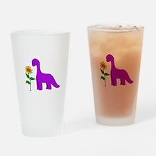 Sauropod and Sunflower Drinking Glass