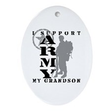 I Support Grandson 2 - ARMY Oval Ornament