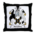 Hawkins Family Crest Throw Pillow