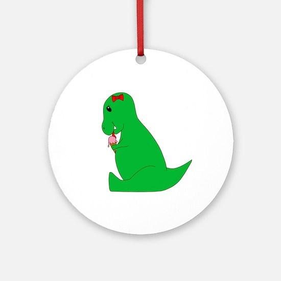 T-Rex Ice Cream Cone Ornament (Round)