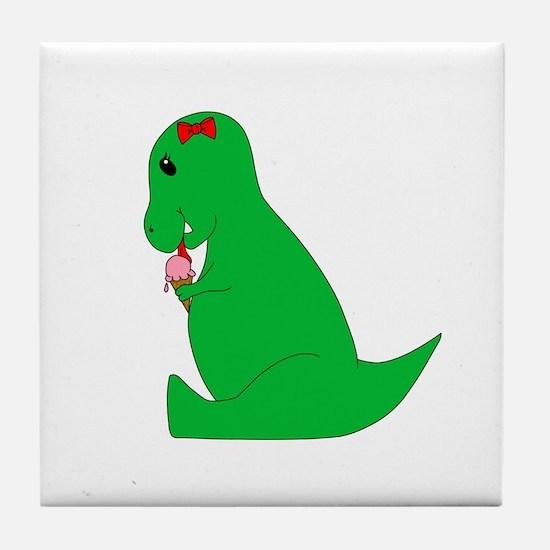 T-Rex Ice Cream Cone Tile Coaster