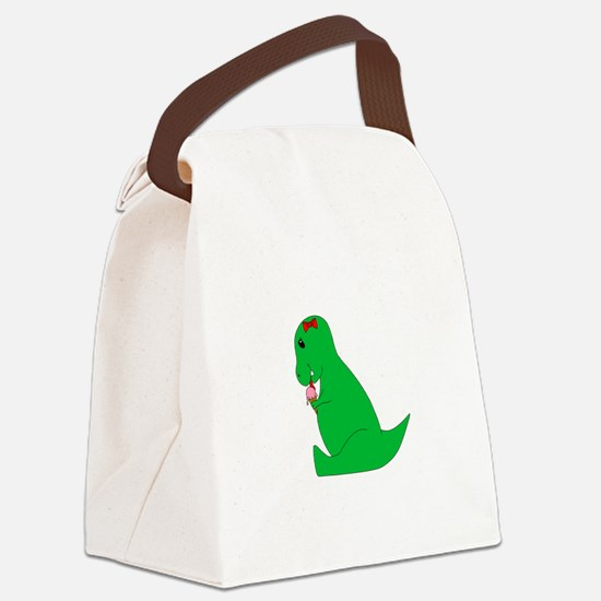 T-Rex Ice Cream Cone Canvas Lunch Bag