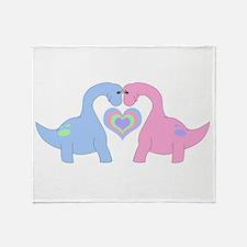 Adoring Apatosaurus Throw Blanket