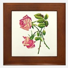 A PAIR OF PINK ROSES Framed Tile