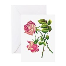 A PAIR OF PINK ROSES Greeting Card