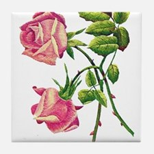 A PAIR OF PINK ROSES Tile Coaster