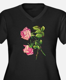 A PAIR OF PINK ROSES Women's Plus Size V-Neck Dark