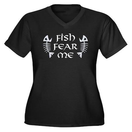 Fish Fear Me Women's Plus Size V-Neck Dark T-Shirt