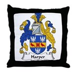 Harper Family Crest Throw Pillow