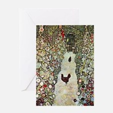 Garden Path with Chickens by Klimt Greeting Cards