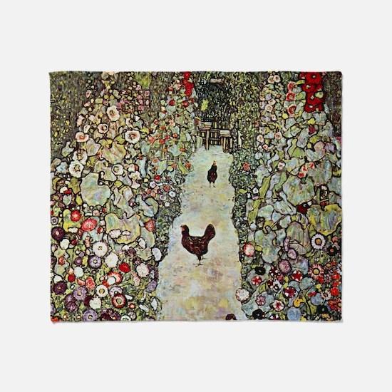 Garden Path with Chickens by Klimt Throw Blanket