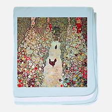 Garden Path with Chickens by Klimt baby blanket