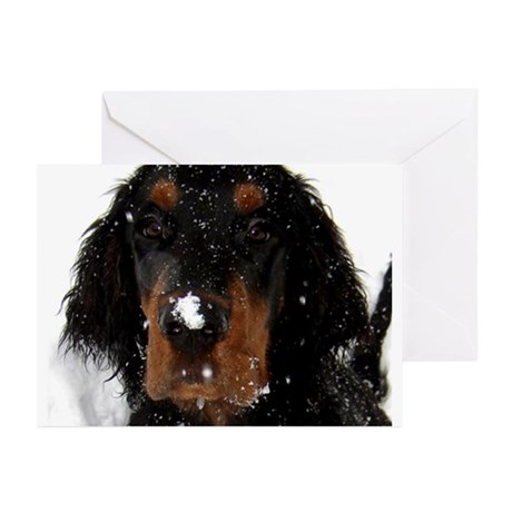 Gordon Setter Pup: Fun in the Snow Greeting Cards