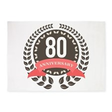 80 Years Anniversary Laurel Badge 5'x7'Area Rug