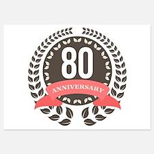 80 Years Anniversary Laurel Badge Invitations
