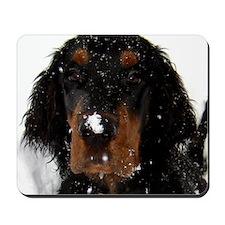 Gordon Setter Pup: Fun in the Snow Mousepad