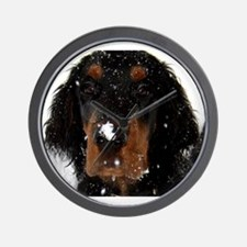 Gordon Setter Pup: Fun in the Snow Wall Clock
