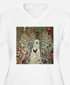 Garden Path with Chickens by Kli Plus Size T-Shirt