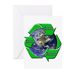 Reduce Reuse Recycle Earth Greeting Cards (Pk of 1