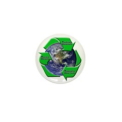 Reduce Reuse Recycle Earth Mini Button