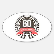 60 Years Anniversary Laurel Badge Sticker (Oval)