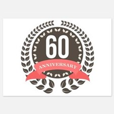 60 Years Anniversary Laurel Badge 5x7 Flat Cards