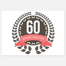 60 Years Anniversary Laurel Badge Invitations
