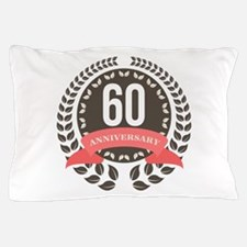 60 Years Anniversary Laurel Badge Pillow Case