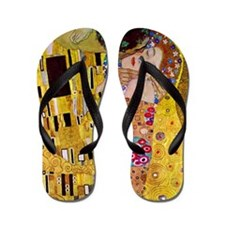 The Kiss detail, Gustav Klimt, Vintage Flip Flops