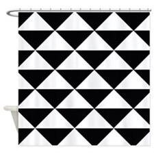Sharp Black and White Triangles Shower Curtain