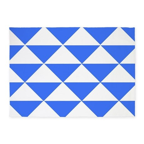 Bright blue triangles 5 39 x7 39 area rug by crazycheckerboards for Bright blue area rug