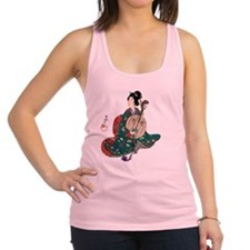 Japanese Lady with Moon Guitar Racerback Tank Top