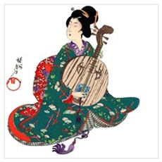 Japanese Lady with Moon Guitar Poster