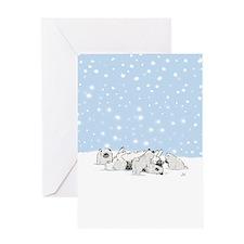 Keesie Snow Dogs Greeting Card