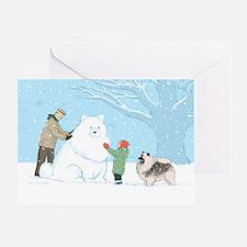 Keeshond Snow Dog Greeting Card