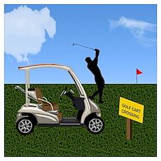Golf Cart on Grass Crossing Warning Poster