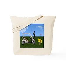 Golf Cart on Grass Crossing Warning Tote Bag