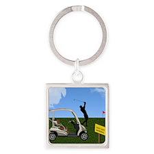 Golf Cart on Grass Crossing Warnin Square Keychain