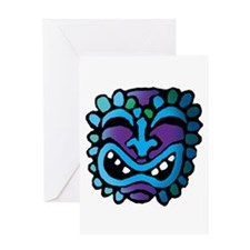 Purple and Blue Tiki Greeting Card