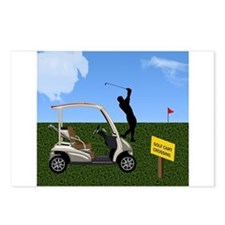 Golf Cart on Grass Crossi Postcards (Package of 8)