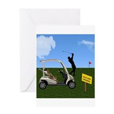 Golf Cart on Grass Crossing Warning Greeting Cards