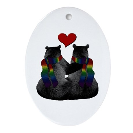 Love (Heart) Gay Bears Oval Ornament