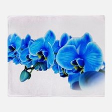 Ice blue orchids Throw Blanket