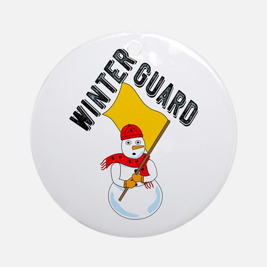 Winter Guard Snowman Round Ornament