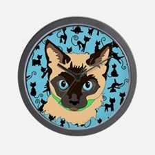 Cool Siamese cat Wall Clock