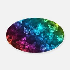 butterfly rainbow Oval Car Magnet