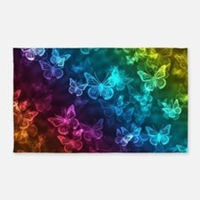 butterfly rainbow Area Rug