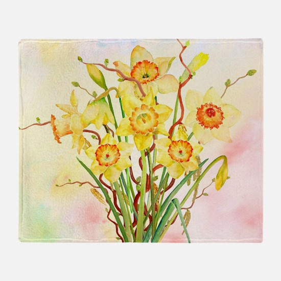 Watercolor Daffodils Yellow Spring F Throw Blanket