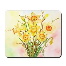 Watercolor Daffodils Yellow Spring Flowe Mousepad